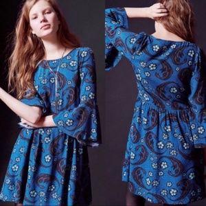 For Love And Lemons Blue Floral Bell Sleeve Dress